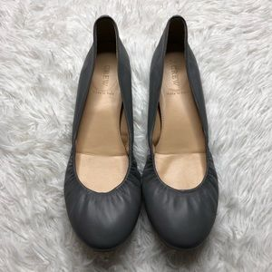 J. Crew CeCe Gray Leather Flats Size 9